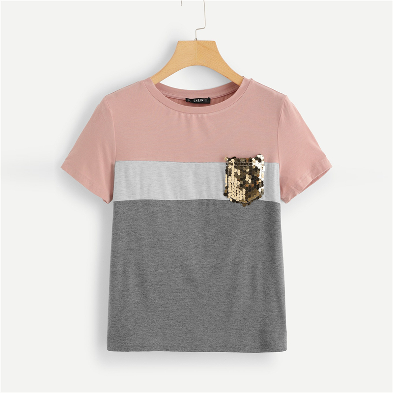 Women's Multicolor Striped Design T-Shirt