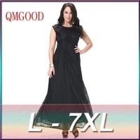 QMGOOD Sexy Lady Large Size Sleeveless Lace Dress New Autumn Fat MM Social Prom Party Long Dress Plus Size 7XL 6XL Black Dress