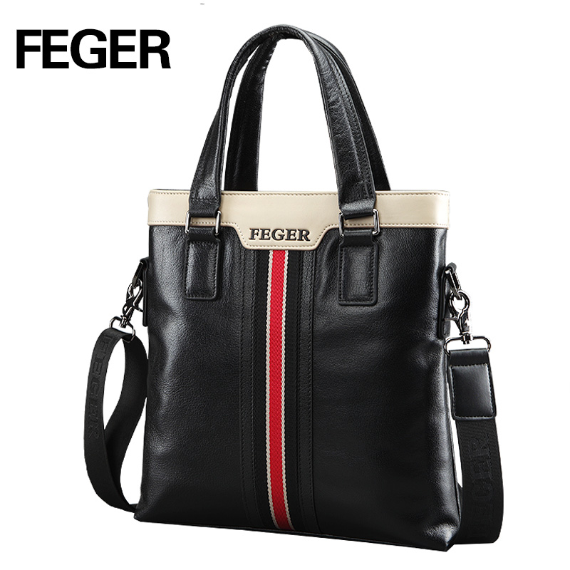 FEGER Color Contrast Briefcase Business Genuine Leather Handbag Men's brand Men Shoulder Messenger Bag Free Shipping feger nylon men bag business briefcase handbag shoulder bag daily use 13laptop bag free shipping