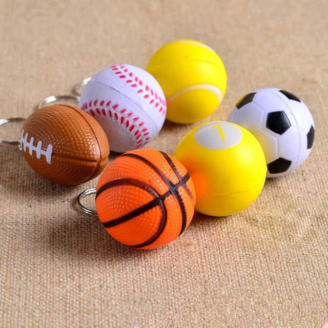 1 Pcs Football Basketball Baseball Table Tennis PU  Keychain Fashion Sports Item Key Chains Golf Key Chain Sports Souvenir Gifts