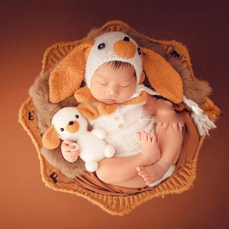 Crochet Knitting Animal Dog Cap +Costumes+Doll +Bones 4 pcs Set Newborn Baby Photography Props Studio Shoot Newborn Fotografia