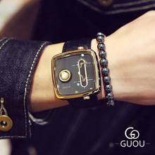 New Watches 2018 Luxury Brand GUOU Men Sport Casual square dial quartz watch fashion Cowhide strap male Wristwatch relogio oulm 3364 casual wristwatch square dial wide strap men s quartz watch luxury brand male clock super big men watches montre homme