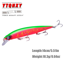 Купить с кэшбэком YTQHXY 1Pcs New Minnow Fishing Lure 14cm 18.3g Jerkbait Isca Artificial Topwater Wobblers High Quality 3 Treble Bass Pike WQ521