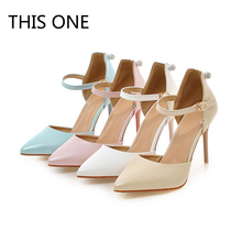 Plus Size 34-45 Sexy High Heels Shoes Pumps Sweet Luxury Blue pink white beige Wedding Shoes Ankle strap Pumps Sapatos Femininos cocoafoal woamn wedges sandals plus size 32 45 pink high heels white wedding shoes black blue sexy peep toe summer pumps 2018