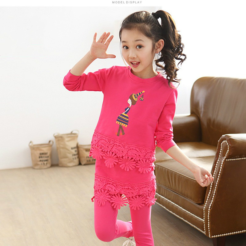 Female Children's Clothing Baby Fall 3-4-2-3-4 Year Old Girl In The Spring And Autumn Suit Jacket + Culottes Cartoon Cotton