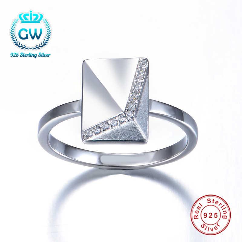 925 стерлингового серебра Triangel Форма простое кольцо лучший подарок для нее вечерние кольца для женщин, модное ювелирное изделие Ripy120-7-40