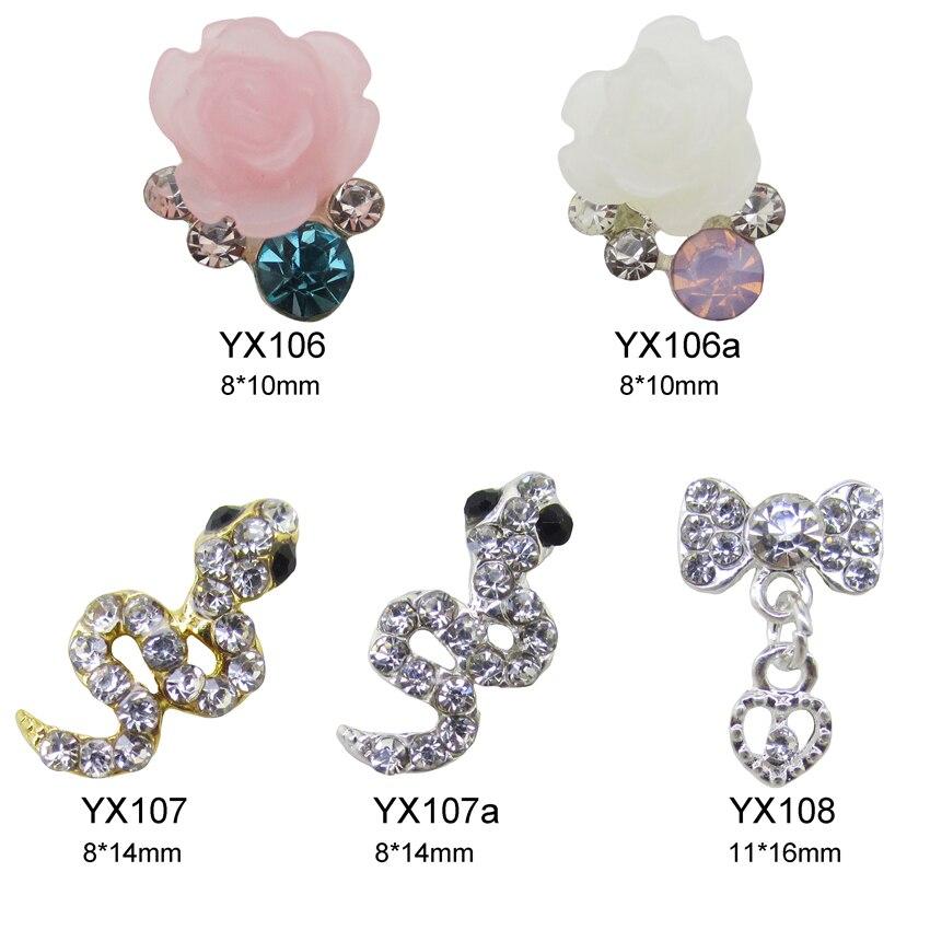 ⊰10pcs Heart drop bows nail decoration 3d cute snake flower jewelry ...