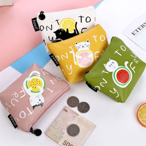 Women cute cartoon cat pattern small wallet zipper girls mini wallet brand designed girls coin purse female card holder wallet dollar price women cute cat small wallet zipper wallet brand designed pu leather women coin purse female wallet card holder