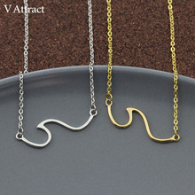 ФОТО v attract marvel stainless steel chain choker boho sea wave statement necklace women men jewelry bech bijoux femme gold collier