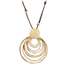New Charm Classic Jewelry Gold Plated Drawing Multi-Circle Round Pendant Necklace Long Rope Chain Necklace Women Collares Largos
