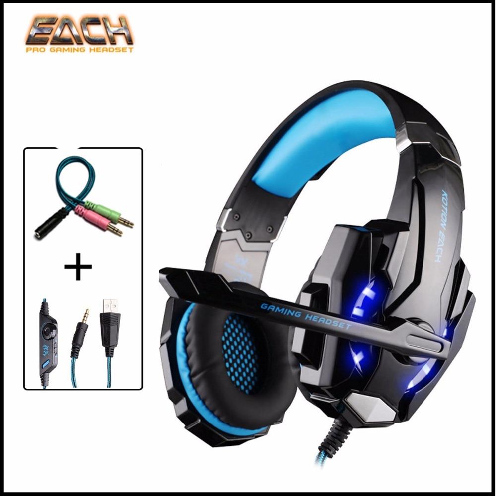 bilder für KOTION JEDER Computer Gaming Headset Verdrahtete LED casque Deep Bass Stereo kopfhörer Headset mit Mikrofon für PC 3,5mm PS4 Gamer