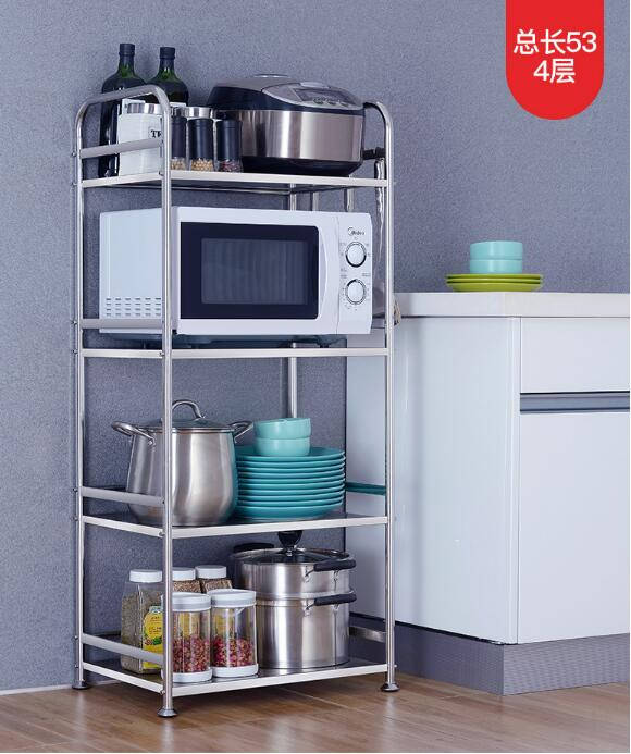 304 stainless steel kitchen rack microwave oven floor type multi-layer pot rack storage household storage cabinet