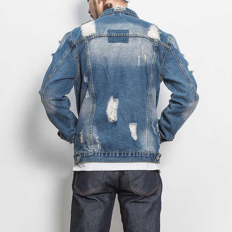 ファッションデニムジャケットヴィンテージメンズボンバージャケットプラスサイズm-5xlターンダウン襟男性ジャケット良い品質メンズジャケットとコート
