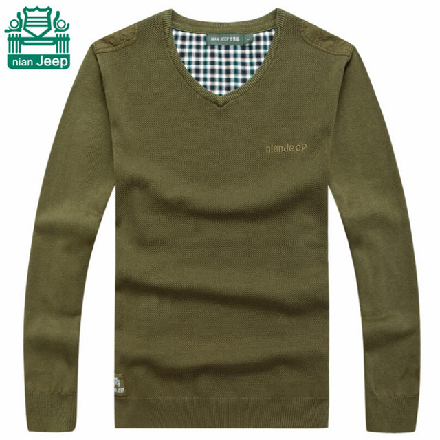 NianJeep Fashion V-neck Men's 2015 Autumn Casual Sweater,Thin Wool Slim Style Pullover Knitted Outwear,Solid Army Gree/Khaki