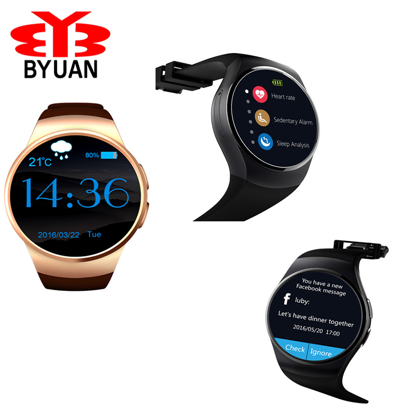Smart Watch Android/IOS Bluetooth Reloj Inteligente SIM Card Heart Rate Monitor Watch Clock Fully Rounded Mic Anti lost KW18