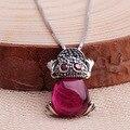 Nuevo 925 retro incrustaciones de plata rojo corindón sapo Suerte con una cadena de plata colgante de collar