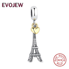 0f0af928c Real 925 Sterling Silver EIFFEL TOWER Charm Gold Color Heart Charms Beads  fit Original Pandora Bracelet Pendant Women Jewelry
