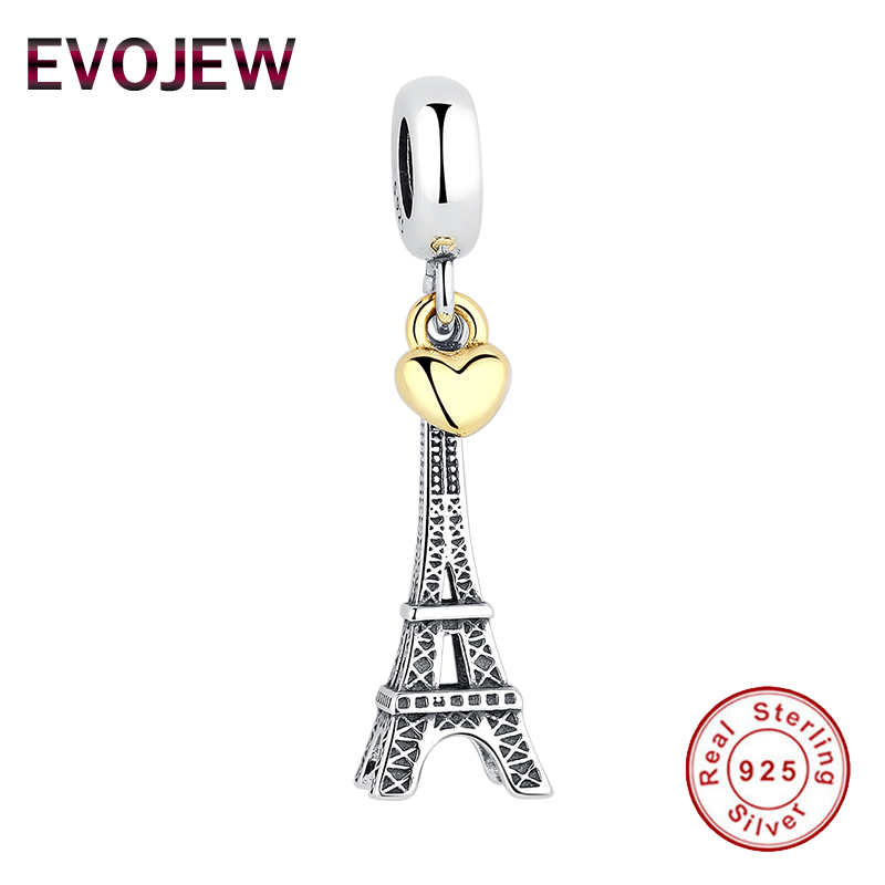 Real 925 Sterling Silver EIFFEL TOWER Charm Gold Color Heart Charms Beads fit Original Pandora Bracelet Pendant Women Jewelry