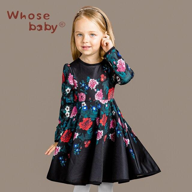 562918ddfa0 Новый Дизайн Осень Зима девушка С Длинным Рукавом Элегантное Платье Печати  Младенческой Дети Цветов Духи Принцесса