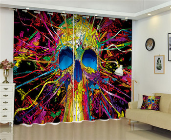 Luxury 3D Curtains Drapes For Bed room Living room Office Hotel Cortinas Halloween skull ornament Blackout Shade Window Curtains