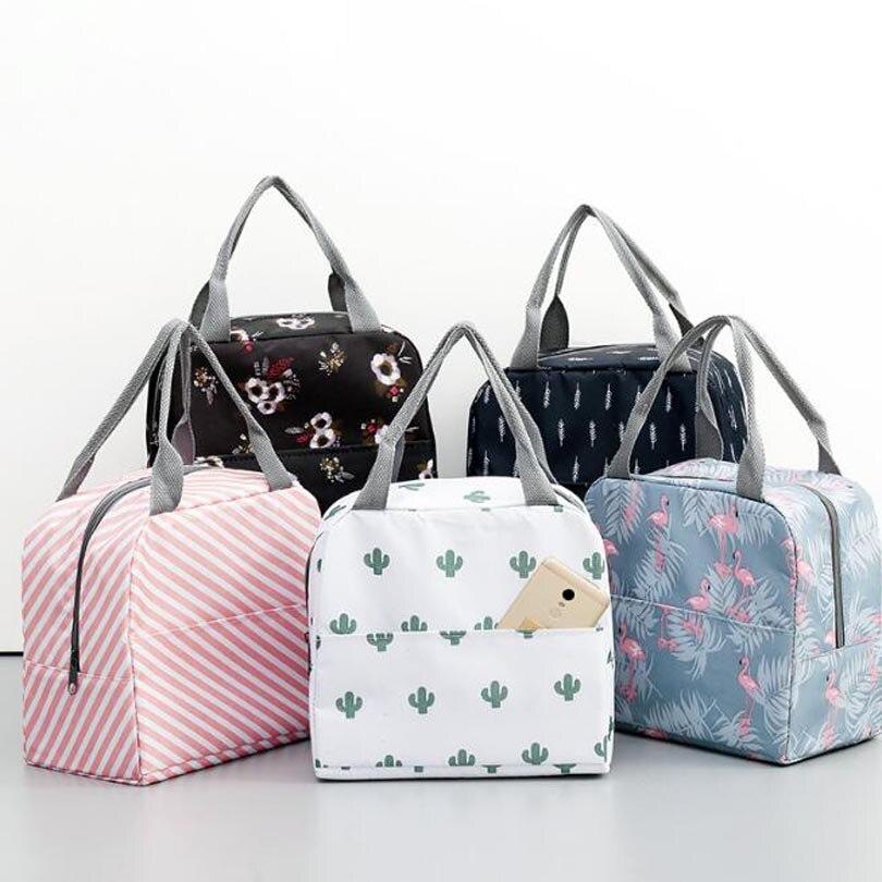 기능성 패턴 쿨러 도시락 상자 휴대용 절연 캔버스 점심 가방 여성을위한 열 음식 피크닉 점심 가방 어린이