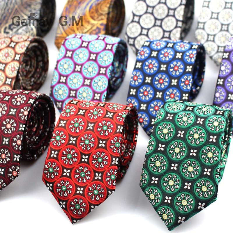 New Ties For Men Brand Neckties For Mens Blue Red 7cm Wide Neck Ties Wedding Suits Polyester Silk Gravata Business Corbatas Tie