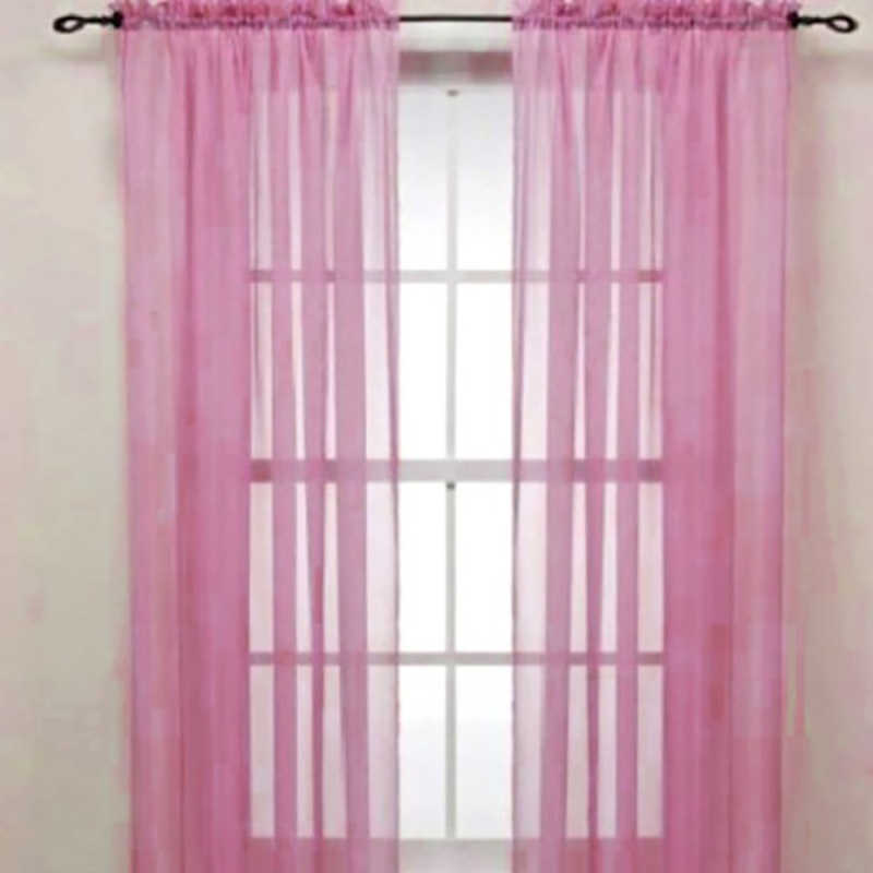 High-end Classic New Solid Color Voile Sheer Curtain Panel Window Curtains 100*200cm Pink Yellow