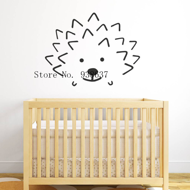 Hedgehog Face Wall Stickers Nursery Home Decoration Wall Vinyl Wall ...