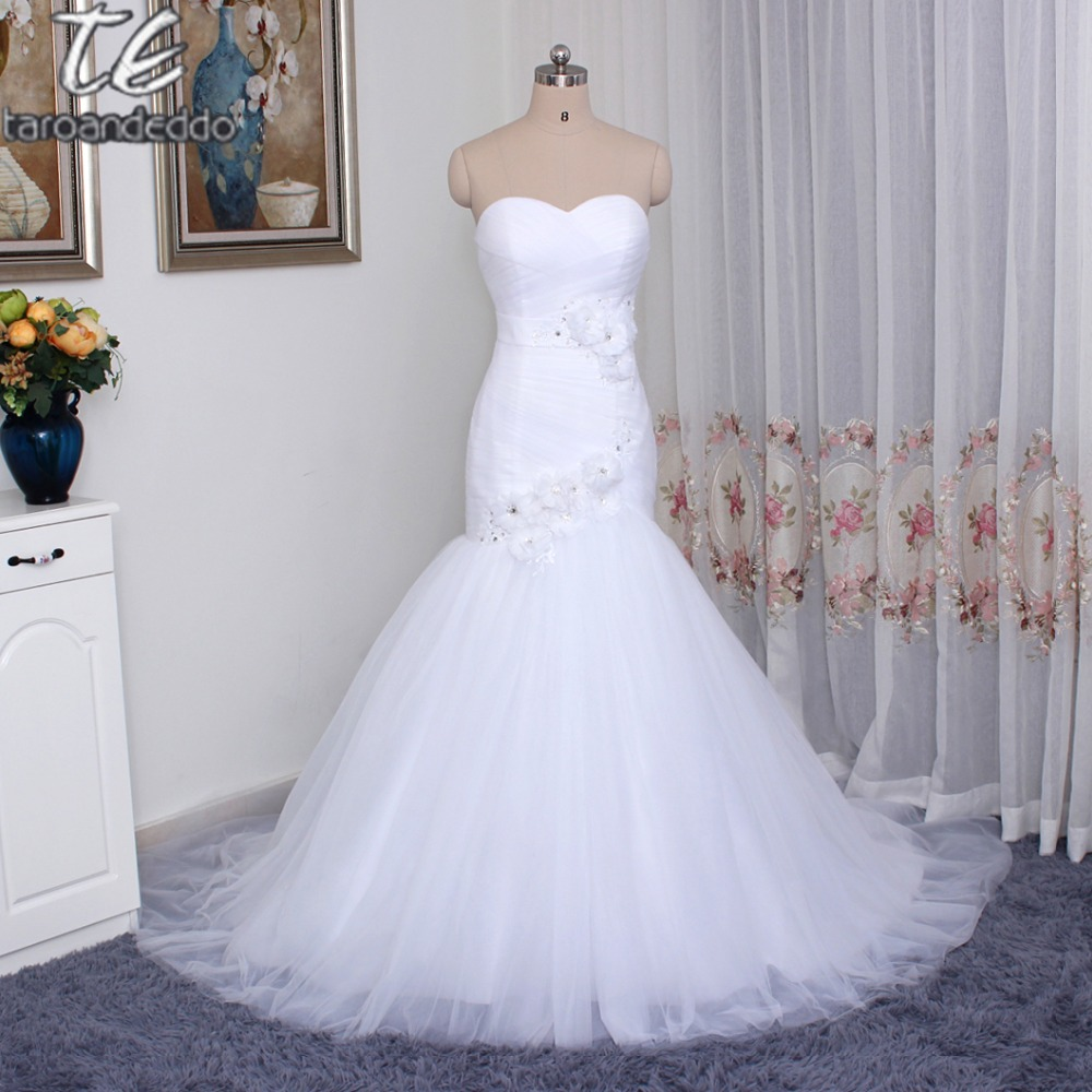 Strapless Ruched Tulle Mermaid Wedding Dress with Applique Lace Crystals Corset Back Hand Made Flowers Bridal Gowns