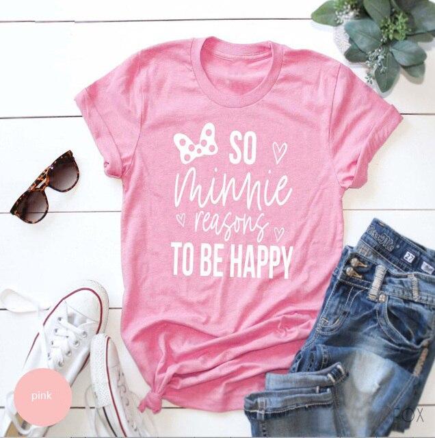ff76a79aa Princesa Camisa Férias Então Motivos para ser Feliz Minnie camiseta rosa  feminina menina bonita fresco slogan