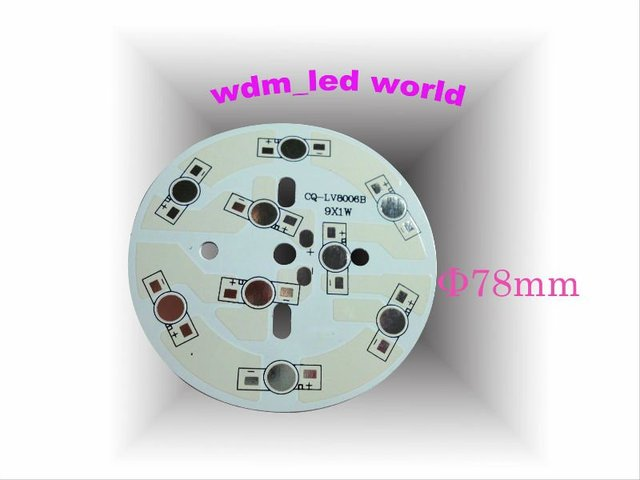 WDM 9*1w 9*3w pcb  9pcs leds white solder mask HASL Aluminum heatsink plate base, MCPCB for HP led lamp