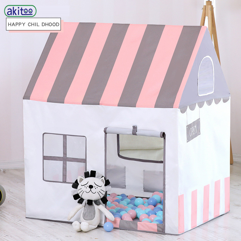 Akitoo Peach Suede Oil Painting Children Princess Tent Indoor Marine Ball Game Toy House Folding Small House Gift #157