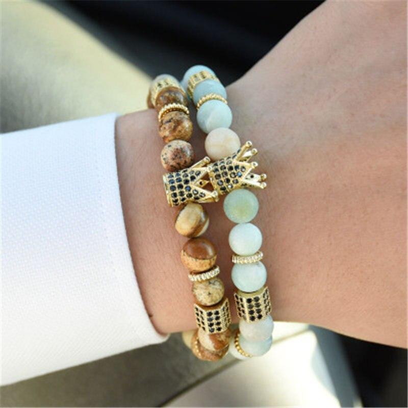 Humorvoll Neue 8 Farbe Krone Geformt Zirkonia Cz Perle Natürliche Matt Achate Kaiser Stein Perlen Armband Armreif Frauen Männer Handgelenk Schmuck