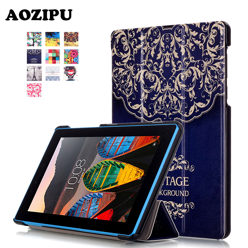 Fashion Print Stand Protective Cover PU Leather Tablet Case for Lenovo Tab3 7 Essential Case Tab 3 710F/L 7inch eReader