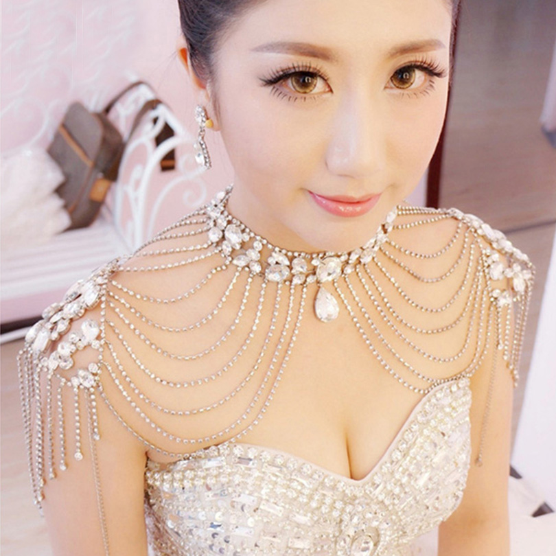 Gold Silver Rhinestone Crystal White Red Lace Bridal Shoulder Necklace Pageant Prom Wedding Shoulder Jewelry Chain Necklaces chain