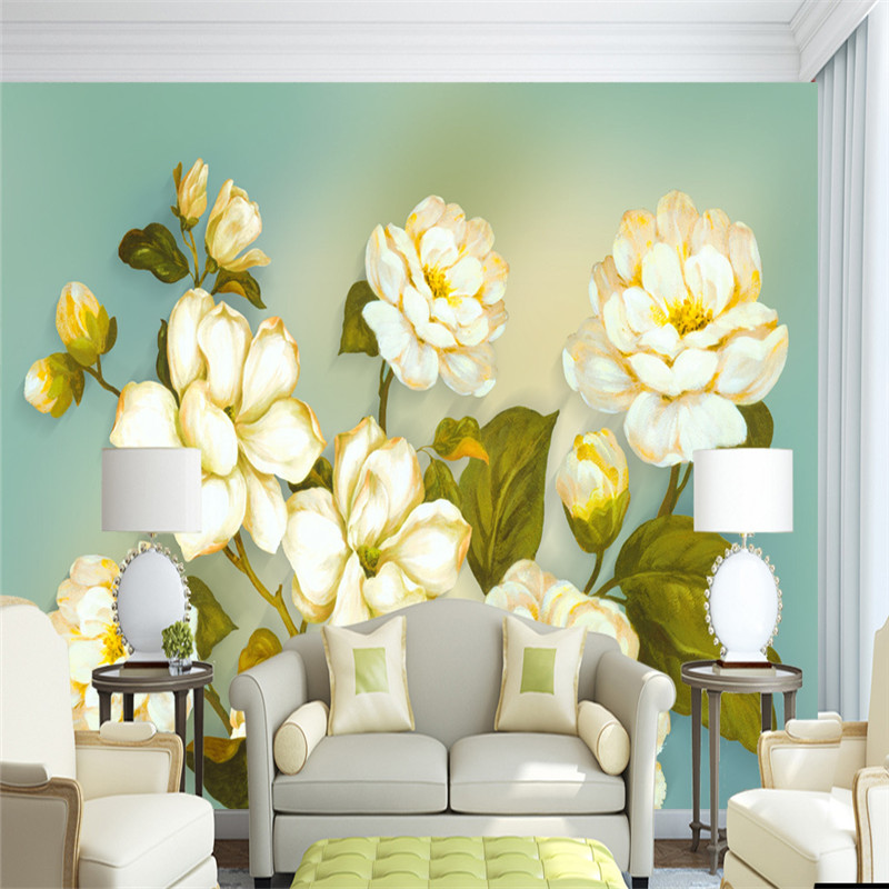 3D Vintage European Mural Hand-painted Wallpaper Oil Painting Flowers Plants Walls Papers Living Room Home Decorative Painting hua tuo landscapes hand painted oil painting