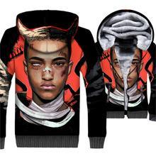 2018 winter high quality jacket coats male novelty XXXTentacion 3D printing jackets mans hip-hop streetwear hooded clothing men