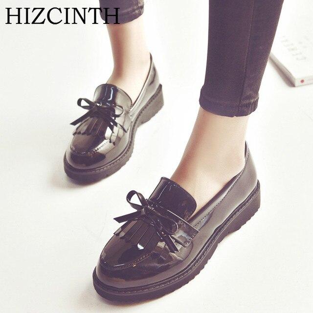 b8276f5aef HIZCINTH Mulher Sapatos de Couro 2018 Primavera Sapatos Único Do Vintage  Sapatos Femininos Apartamentos Estudantis Sapatilhas