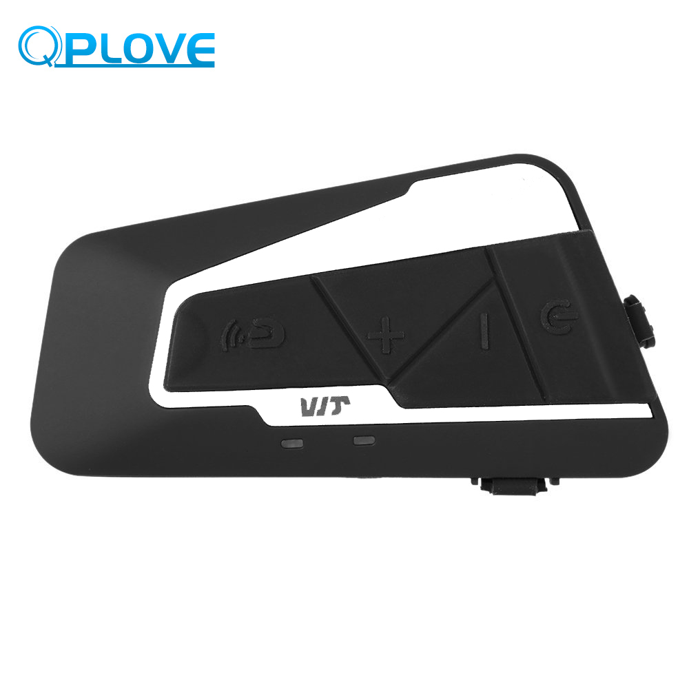 QPLOVE T9S Motorcycle Bluetooth Helmet Intercom Waterproof Microphone 1000M Effective Distance Headset Interphone With FM Radio