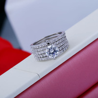 XIFAN Top New Antique Mosaic AAA Zircon Crystal Multilayer Vintage Silver Two Color Ring Women Finger Luxury Bijoux
