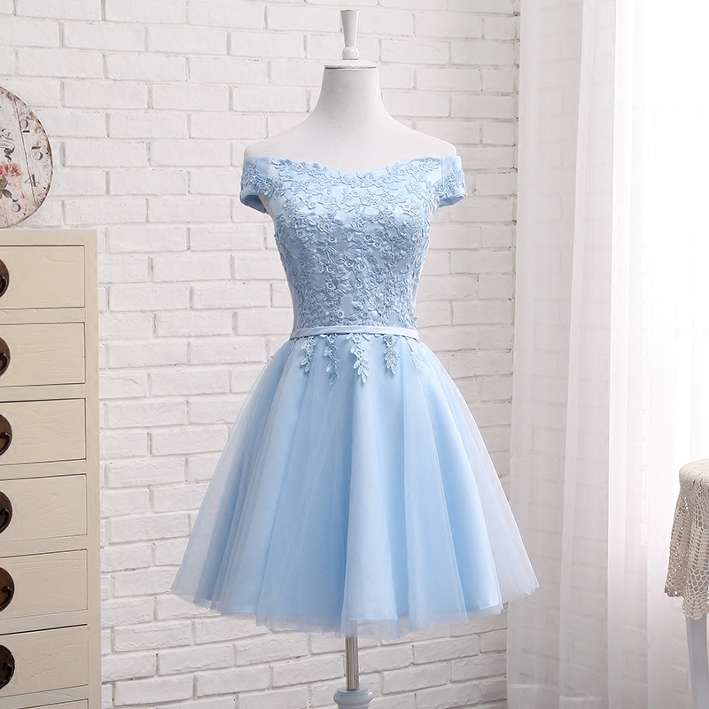 JFN#Lace up Off Shoulder Long middle short blue Bridesmaid Dresses 2018 new Sister group Custom party prom dress toast suit