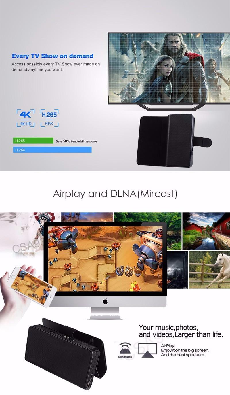 ถูก CS668 Amlogic S905X Android 6.0สมาร์ททีวีกล่อง1กรัม8กรัมQuad Core 4พันมินิพีซีMedia Playerชุดกล่องด้านบนลำโพงบลูทูธของธนาคารอำนาจ