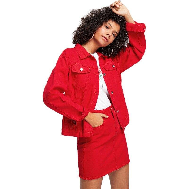 90d9684e6675 COLROVIE Vermelho Botão Casuais Jaqueta Jeans Sem Saia 2018 Outono Mulheres  Jaqueta Básica de Manga Longa