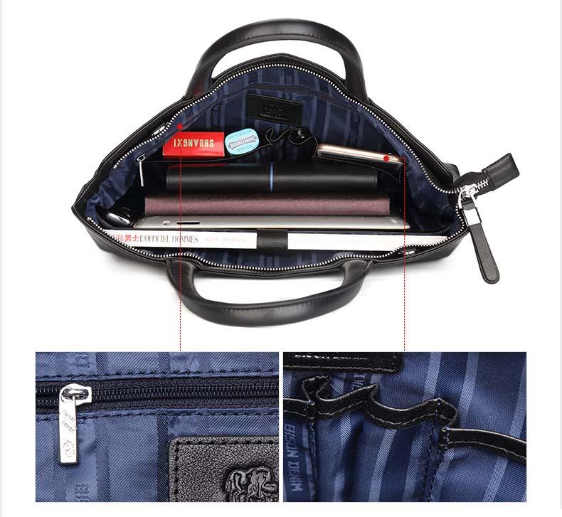 BISON DENIM Brand Handbag Men Briefcase Genuine Leather Shoulder Bags Business Travel Laptop Bag Tote Bag Men's Messenger Bag
