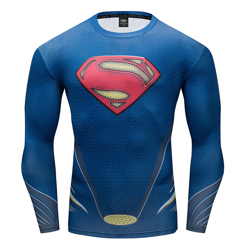 Compressed shirt men's T-shirt 3D Super Heroes Winter Soldier Bucky/Superman work out fitness T-shirt Gyms Leisure fitness Tops