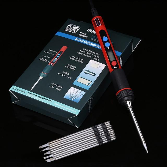 Портативный паяльник 5 в 10 Вт с цифровым ЖК дисплеем, USB, паяльник с регулируемой температурой, сварочные инструменты