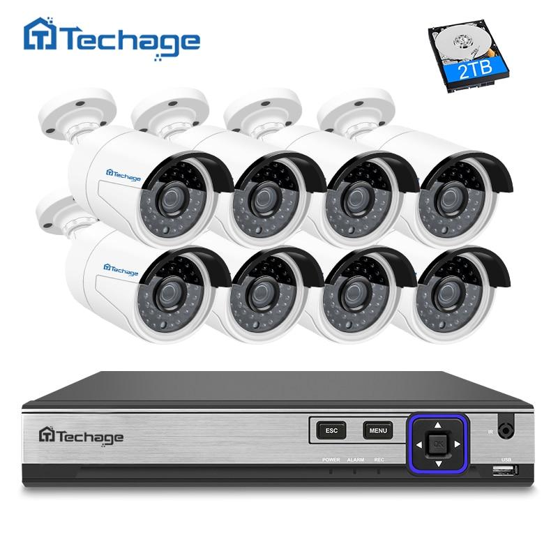 Techage 8CH POE NVR Kit H.265 4MP Cctv-kamera-system (8) im freien Wasserdichte 4.0MP Ip-kamera P2P Video Security Surveillance Set