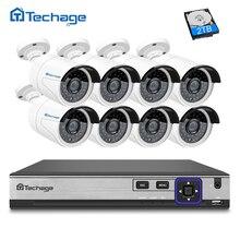 Techage H.265 8CH NVR Kit 4MP Security Camera POE CCTV System 8PCS Outdoor IP Camera IP66 Waterproof P2P Onvif Surveillance Set