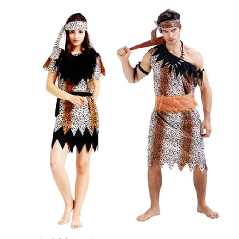 2018 Adult Men Women Jungle Caveman Cosplay Costume Stone ...