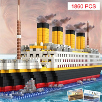 Model Building Blocks 56 CM Titanic Ship Diamond Blocks 1860 Pcs Nano Bricks Educational Model Building